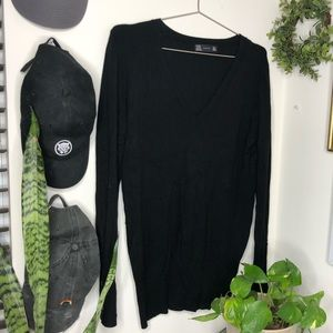 Zara V-Neck Black Sweater Button Sweater